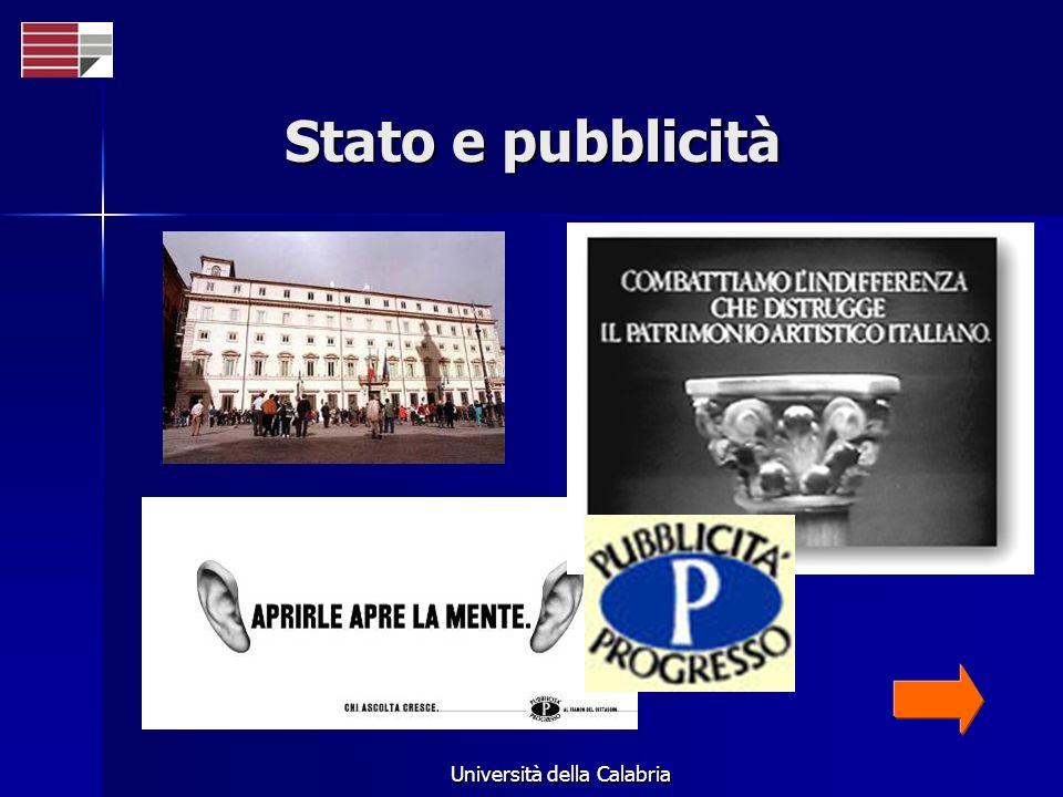 Università della Calabria Stato e pubblicità
