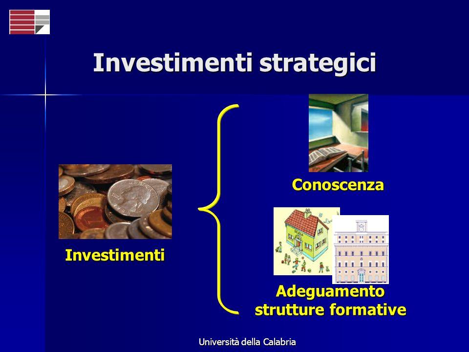 Università della Calabria Investimenti strategici Conoscenza Adeguamento strutture formative Investimenti