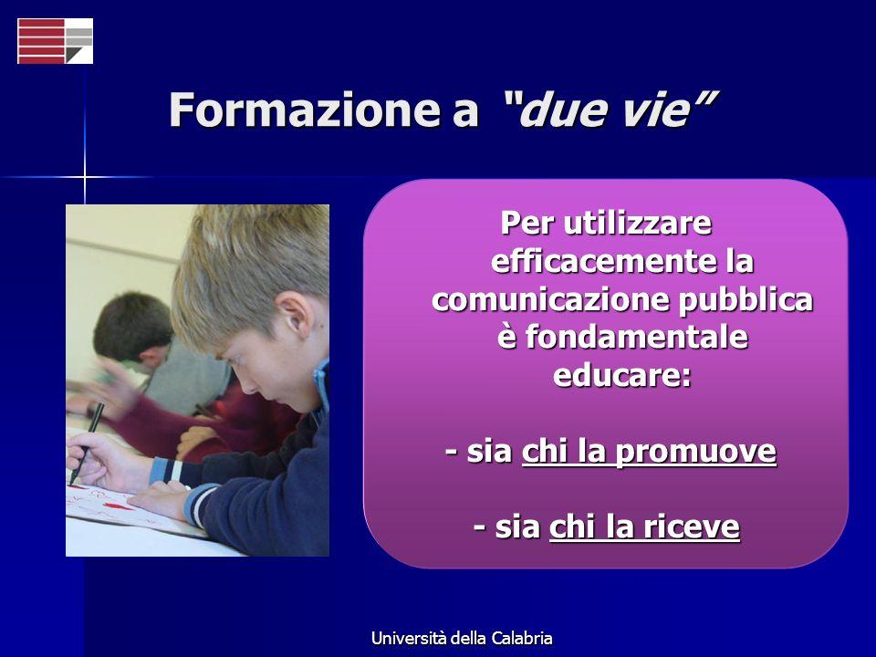Università della Calabria Formazione a due vie Per utilizzare efficacemente la comunicazione pubblica è fondamentale educare: - sia chi la promuove -