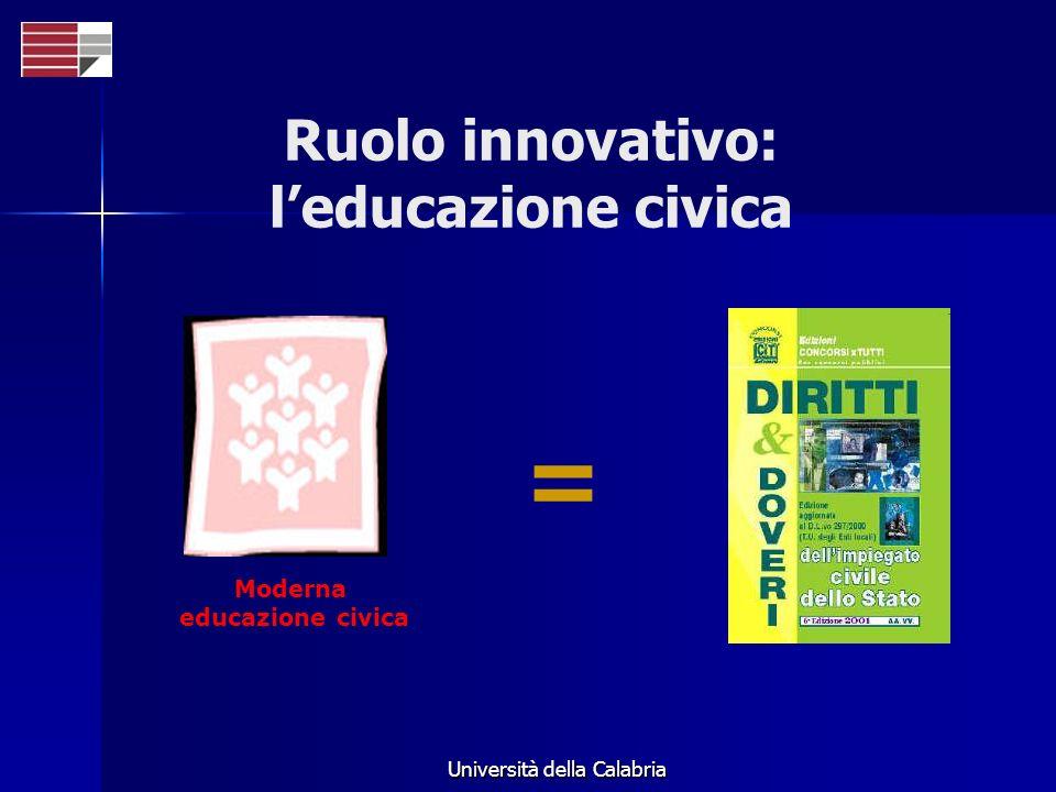 Università della Calabria Moderna educazione civica = Ruolo innovativo: leducazione civica