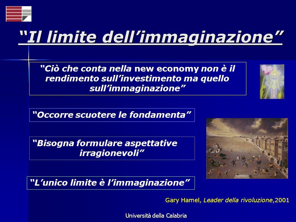 Università della Calabria Ciò che conta nella new economy non è il rendimento sullinvestimento ma quello sullimmaginazione Occorre scuotere le fondame