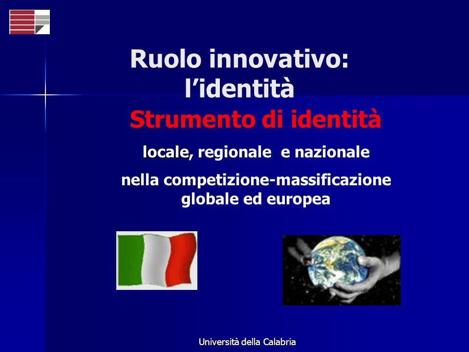 Università della Calabria Strumento di identità locale locale, regionale e nazionale nella competizione-massificazione globale ed europea Ruolo innova