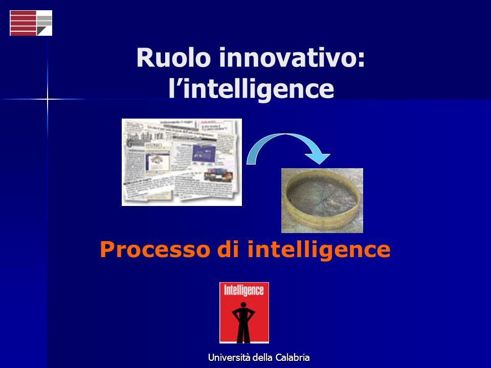 Università della Calabria Processo di intelligence Ruolo innovativo: lintelligence