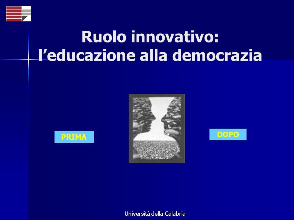 Università della Calabria PRIMA DOPO Ruolo innovativo: leducazione alla democrazia