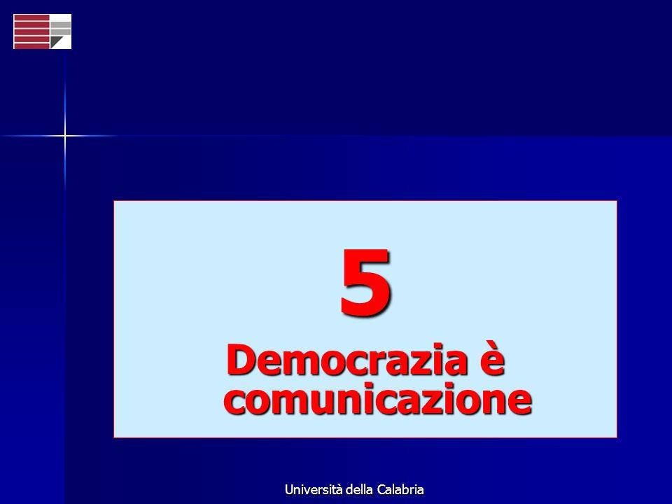 Università della Calabria 5 Democrazia è comunicazione