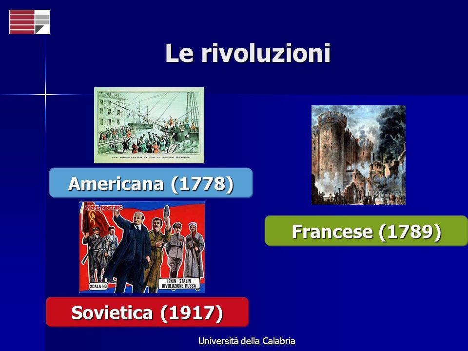 Università della Calabria Le rivoluzioni Americana (1778) Francese (1789) Sovietica (1917)