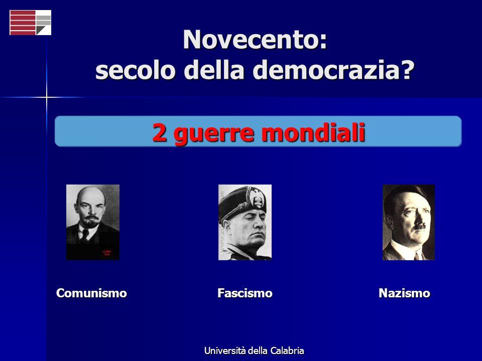 Università della Calabria Novecento: secolo della democrazia? 2 guerre mondiali FascismoNazismoComunismo
