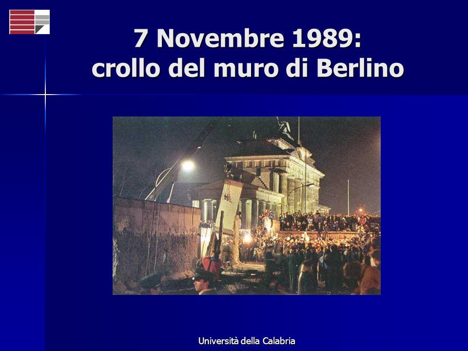 Università della Calabria 7 Novembre 1989: crollo del muro di Berlino