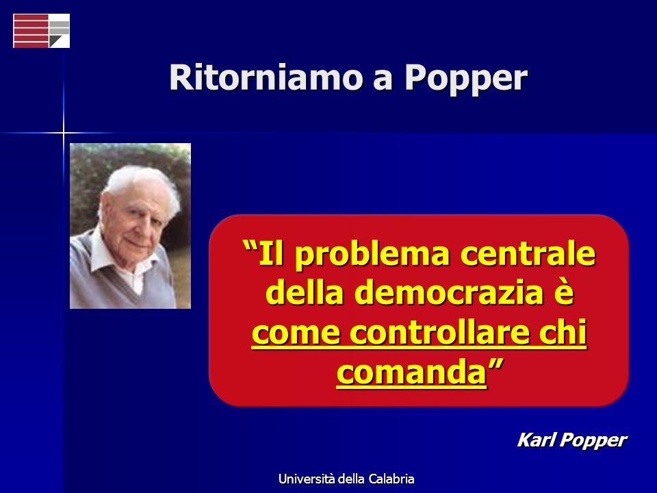 Università della Calabria Ritorniamo a Popper Il problema centrale della democrazia è come controllare chi comanda Karl Popper