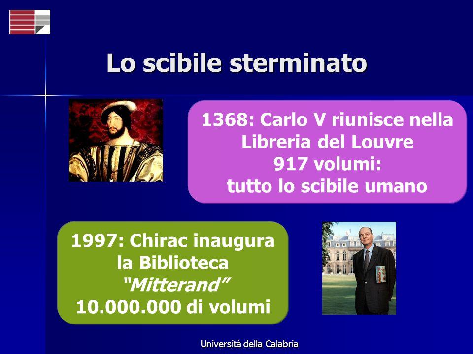 Università della Calabria Lo scibile sterminato 1368: Carlo V riunisce nella Libreria del Louvre 917 volumi: tutto lo scibile umano 1997: Chirac inaug