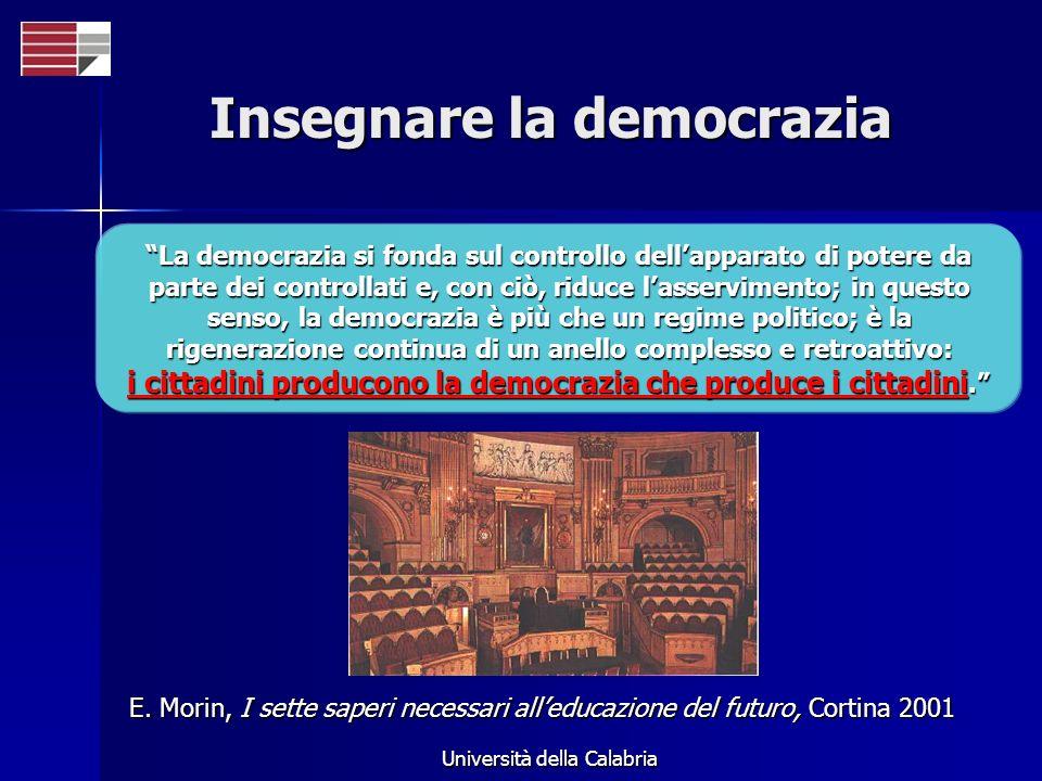 Università della Calabria Insegnare la democrazia La democrazia si fonda sul controllo dellapparato di potere da parte dei controllati e, con ciò, rid