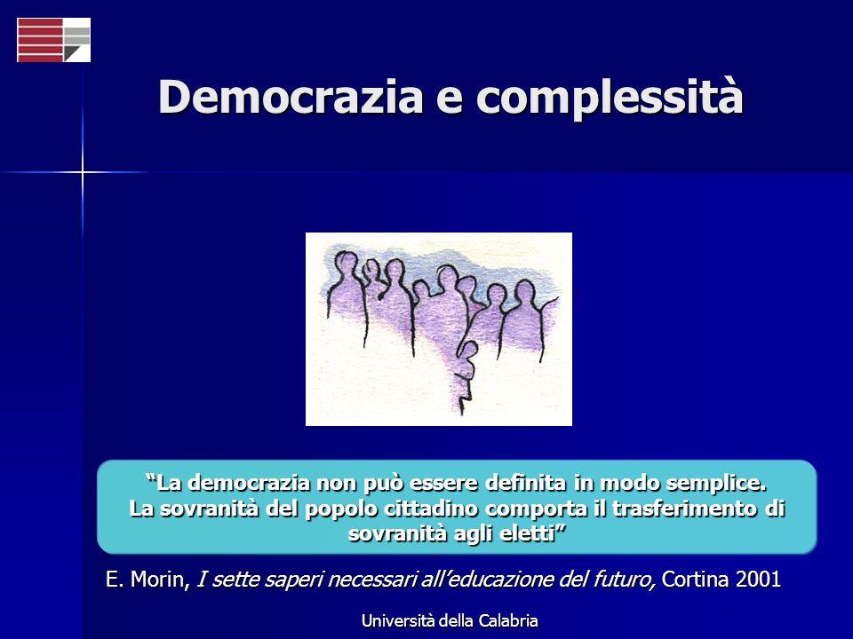 Università della Calabria Democrazia e complessità La democrazia non può essere definita in modo semplice. La sovranità del popolo cittadino comporta