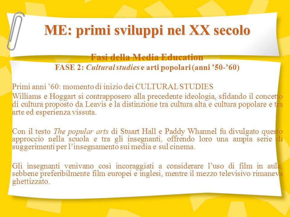 ME: primi sviluppi nel XX secolo Fasi della Media Education FASE 3: Screen generation e demistificazione (anni 70) Lo sviluppo chiave era quello della Teoria dello schermo come esposta nelle pagine delle riviste Screen e Screen Education.