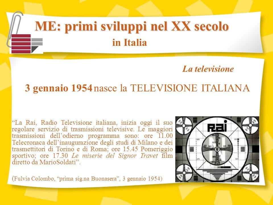 in Italia 3 gennaio 1954 nasce la TELEVISIONE ITALIANA La Rai, Radio Televisione italiana, inizia oggi il suo regolare servizio di trasmissioni televisive.