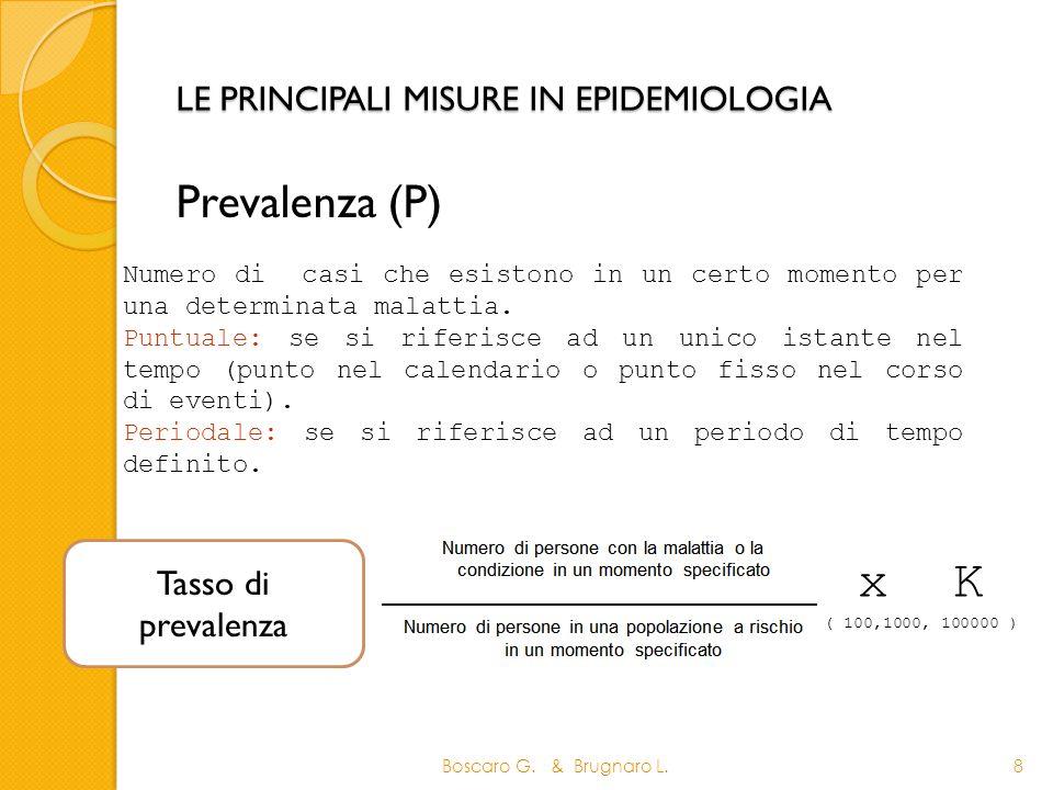 LE PRINCIPALI MISURE IN EPIDEMIOLOGIA Prevalenza (P) Boscaro G. & Brugnaro L.8 Numero di casi che esistono in un certo momento per una determinata mal