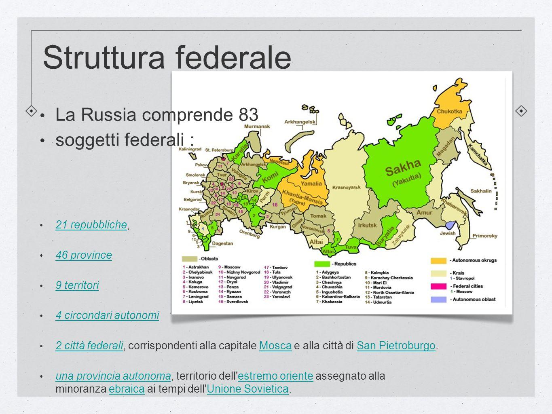 Struttura federale La Russia comprende 83 soggetti federali : 21 repubbliche, 21 repubbliche 46 province 9 territori 4 circondari autonomi 2 città fed