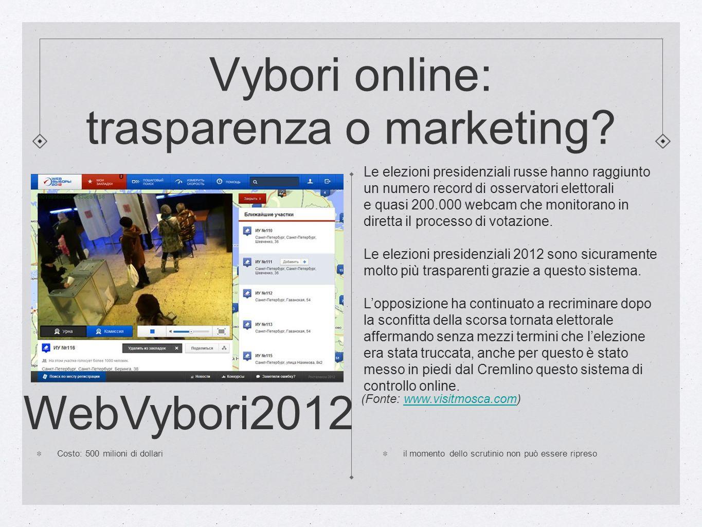 Vybori online: trasparenza o marketing? WebVybori2012 Costo: 500 milioni di dollari il momento dello scrutinio non può essere ripreso Le elezioni pres