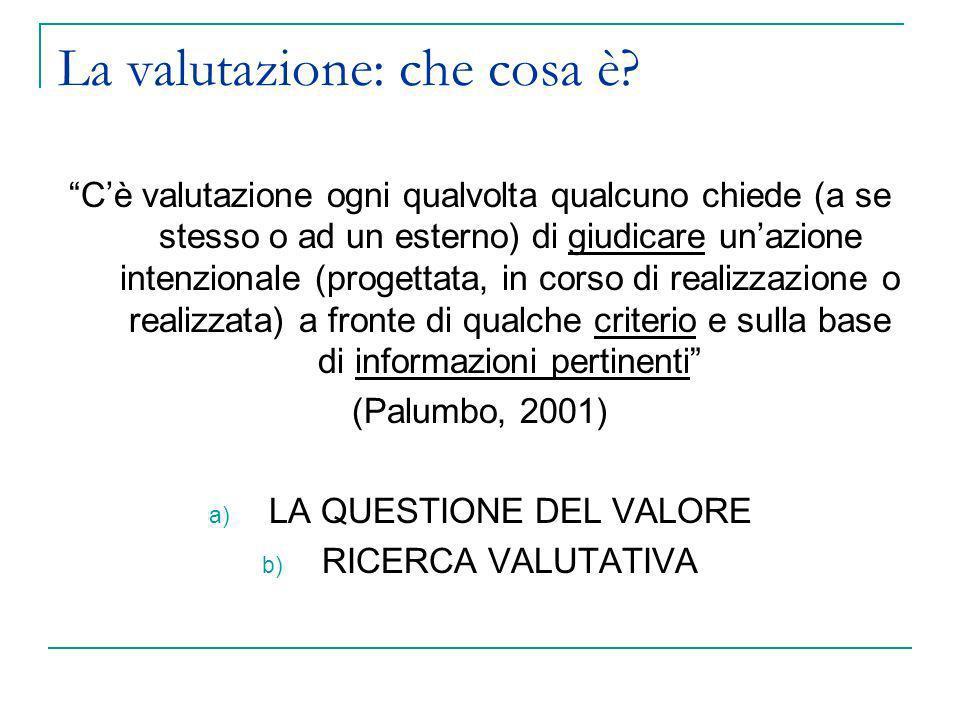 Il processo di valutazione Le nove tappe (Bezzi, 2001 con modifiche mie) 1.Definizione del mandato 2.Analisi dellevaluando e formulazione delle domande valutative 3.Accertamento delle risorse 4.Individuazione di un possibile modello valutativo di riferimento 5.Esplorazione dettagliata dellevaluando e delle sue componenti oggetto di valutazione specifica 6.Stipulazione dei valori valutativi (criteri) 7.Individuazione dellapparato metodologico da impiegare e dei relativi strumenti di supporto 8.Raccolta e analisi dei dati ed informazioni 9.Restituzione e utilizzo dei risultati della valutazione