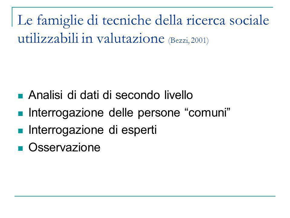 Le famiglie di tecniche della ricerca sociale utilizzabili in valutazione (Bezzi, 2001) Analisi di dati di secondo livello Interrogazione delle person