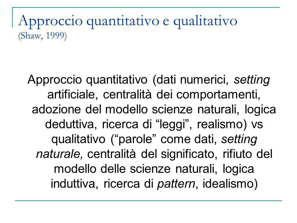 Approccio quantitativo e qualitativo (Shaw, 1999) Approccio quantitativo (dati numerici, setting artificiale, centralità dei comportamenti, adozione d