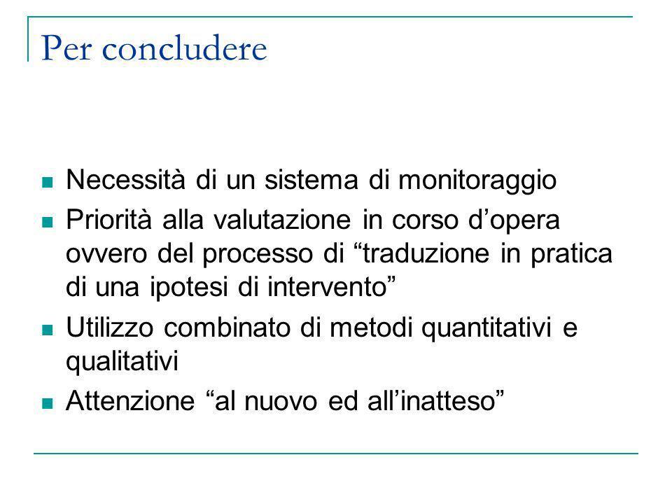 Per concludere Necessità di un sistema di monitoraggio Priorità alla valutazione in corso dopera ovvero del processo di traduzione in pratica di una i