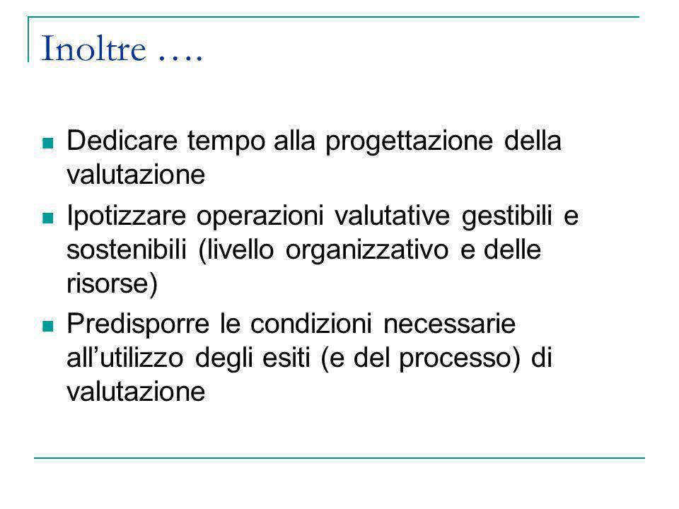 Inoltre …. Dedicare tempo alla progettazione della valutazione Ipotizzare operazioni valutative gestibili e sostenibili (livello organizzativo e delle