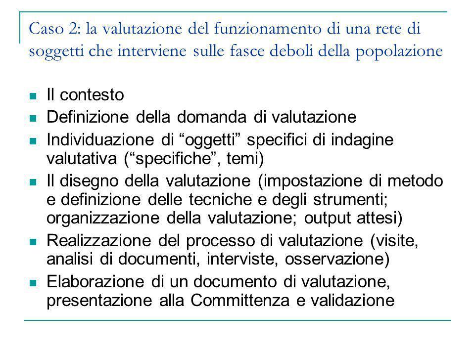 Caso 2: la valutazione del funzionamento di una rete di soggetti che interviene sulle fasce deboli della popolazione Il contesto Definizione della dom