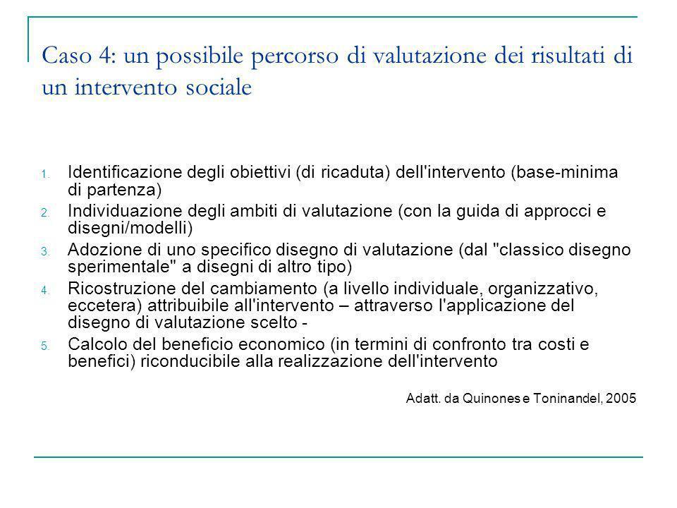 Caso 4: un possibile percorso di valutazione dei risultati di un intervento sociale 1. Identificazione degli obiettivi (di ricaduta) dell'intervento (