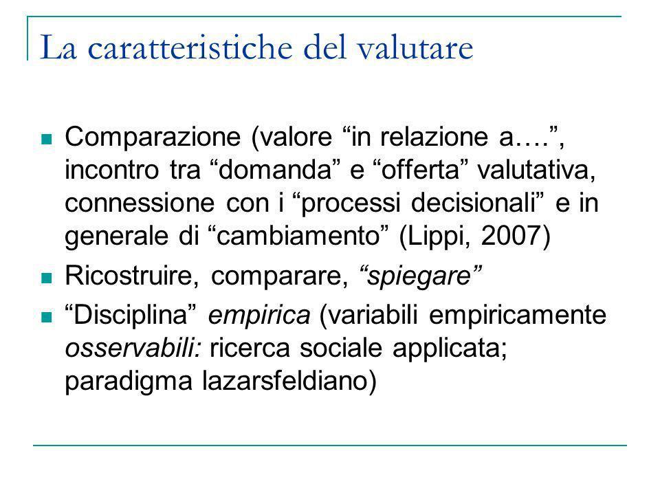 La caratteristiche del valutare Comparazione (valore in relazione a…., incontro tra domanda e offerta valutativa, connessione con i processi decisiona