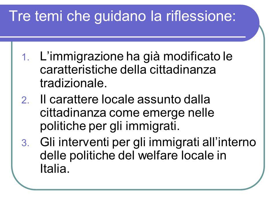 Tre temi che guidano la riflessione: 1. Limmigrazione ha già modificato le caratteristiche della cittadinanza tradizionale. 2. Il carattere locale ass