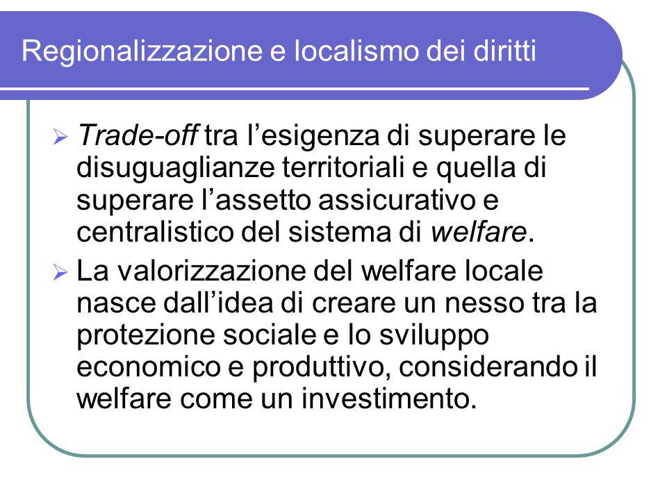 Regionalizzazione e localismo dei diritti Trade-off tra lesigenza di superare le disuguaglianze territoriali e quella di superare lassetto assicurativ