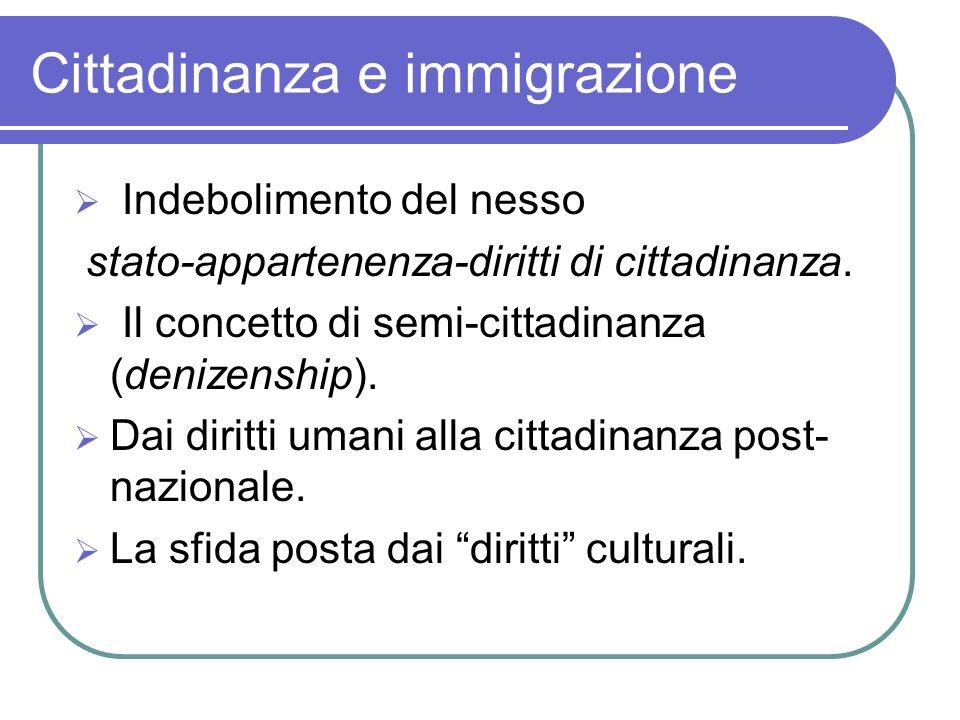 Cittadinanza e immigrazione Indebolimento del nesso stato-appartenenza-diritti di cittadinanza. Il concetto di semi-cittadinanza (denizenship). Dai di
