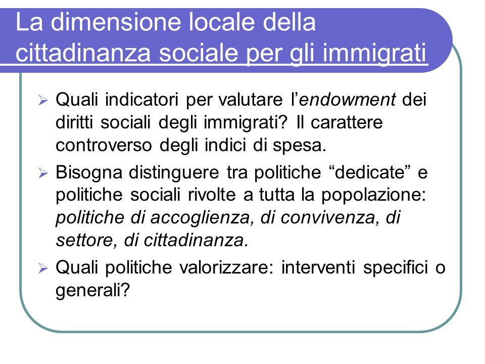 La dimensione locale della cittadinanza sociale per gli immigrati Quali indicatori per valutare lendowment dei diritti sociali degli immigrati? Il car