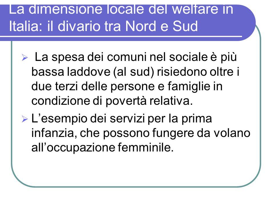 La dimensione locale del welfare in Italia: il divario tra Nord e Sud La spesa dei comuni nel sociale è più bassa laddove (al sud) risiedono oltre i d