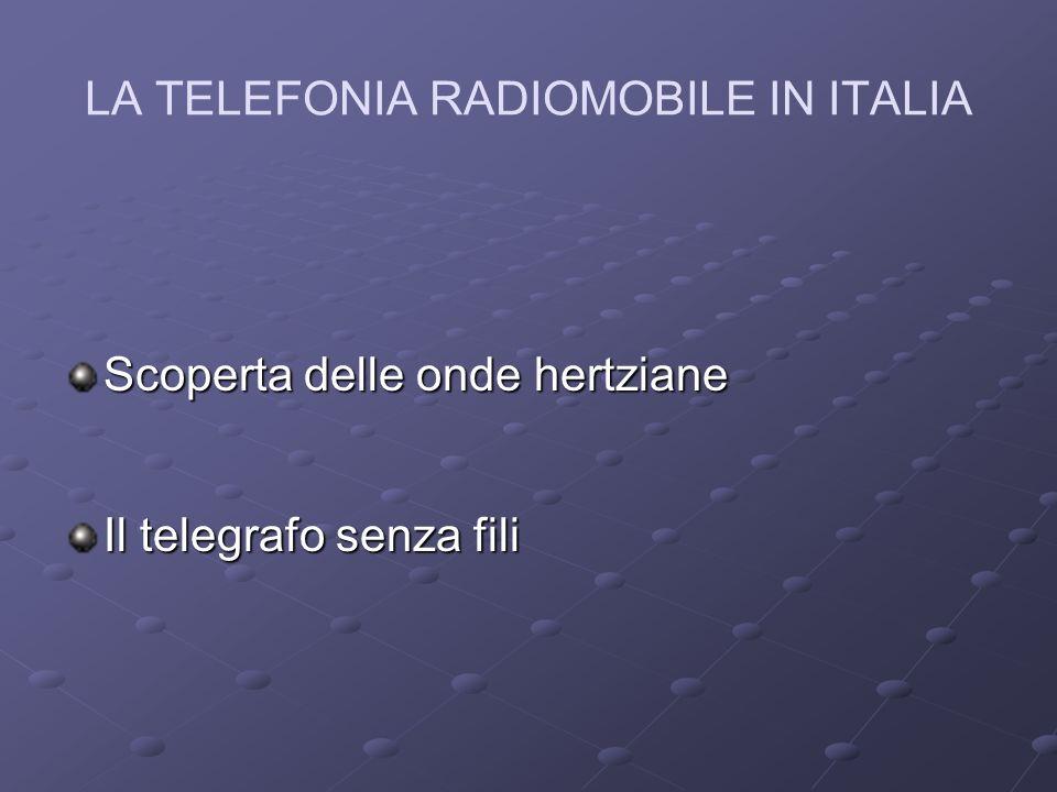 LA TELEFONIA RADIOMOBILE IN ITALIA ANNI 60: negli USA la Bell Telephone Company inizia gli esperimenti per allacciare alla preesistente rete telefonica pubblica un veicolo in movimento.