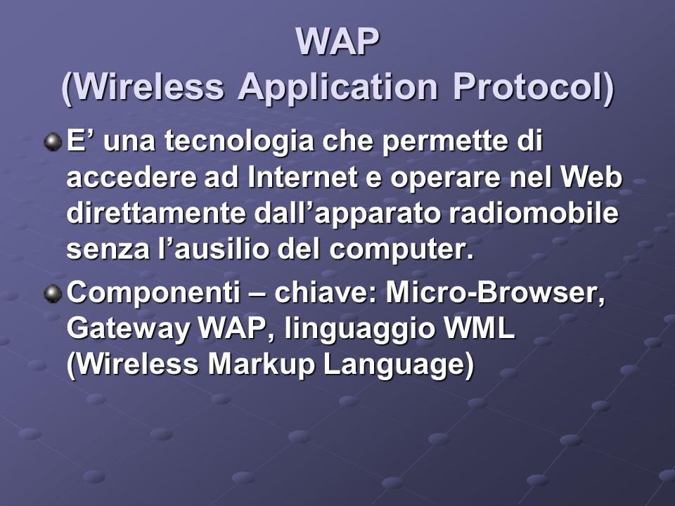 WAP (Wireless Application Protocol) E una tecnologia che permette di accedere ad Internet e operare nel Web direttamente dallapparato radiomobile senza lausilio del computer.