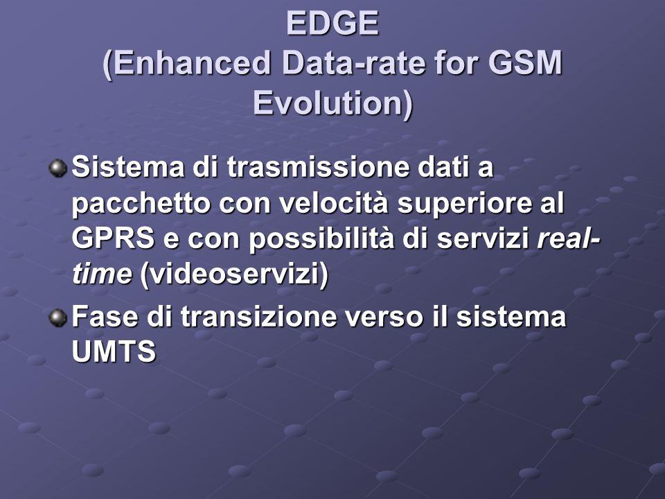 EDGE (Enhanced Data-rate for GSM Evolution) Sistema di trasmissione dati a pacchetto con velocità superiore al GPRS e con possibilità di servizi real- time (videoservizi) Fase di transizione verso il sistema UMTS