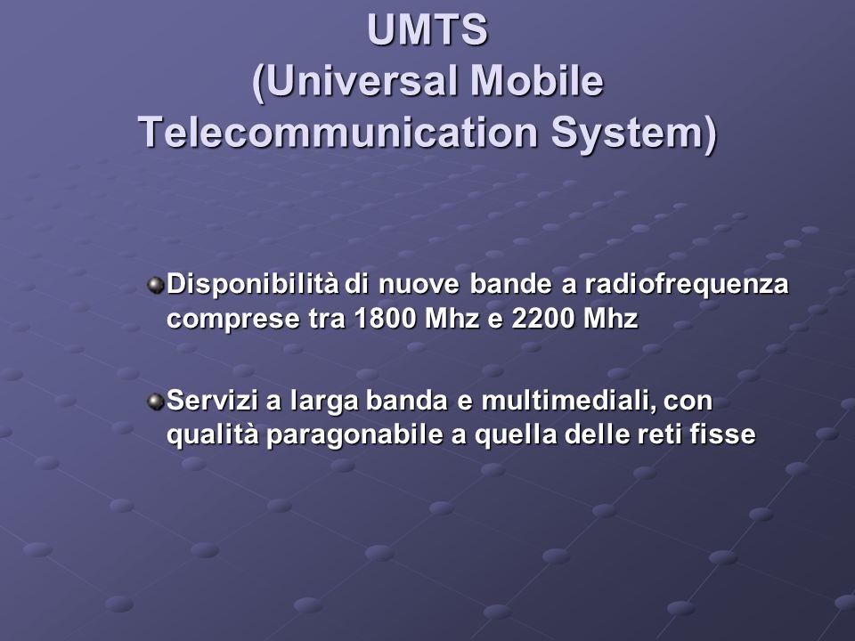 UMTS (Universal Mobile Telecommunication System) Disponibilità di nuove bande a radiofrequenza comprese tra 1800 Mhz e 2200 Mhz Servizi a larga banda e multimediali, con qualità paragonabile a quella delle reti fisse