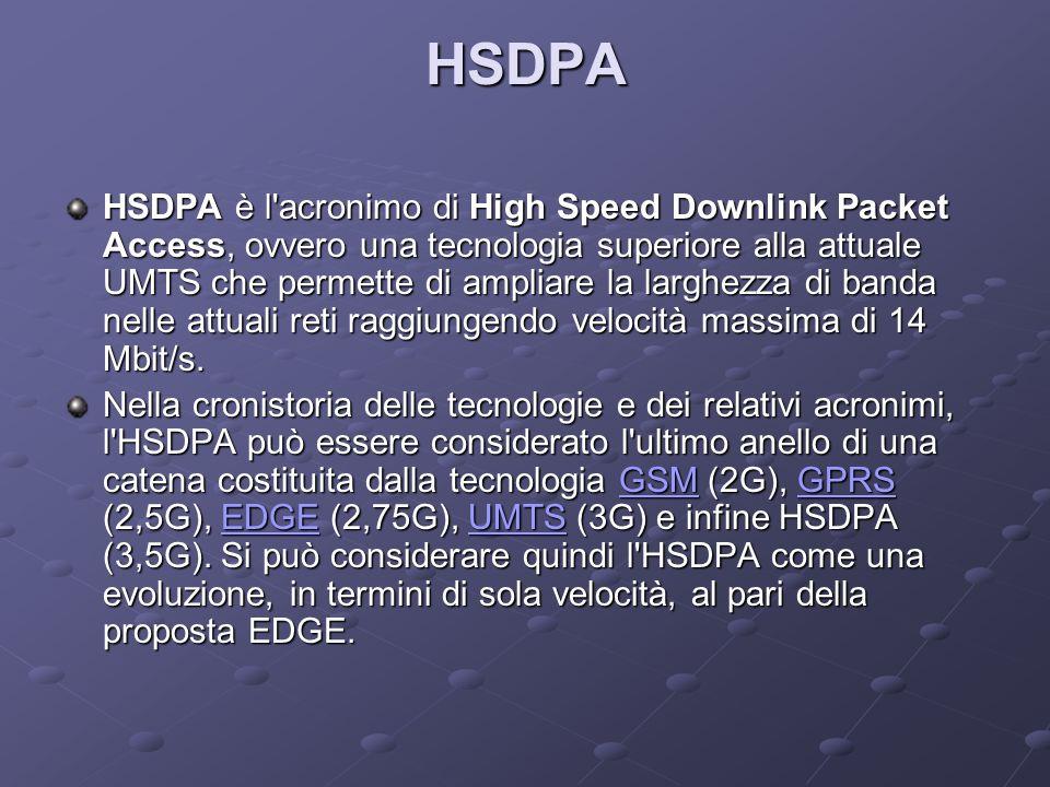 HSDPA HSDPA è l acronimo di High Speed Downlink Packet Access, ovvero una tecnologia superiore alla attuale UMTS che permette di ampliare la larghezza di banda nelle attuali reti raggiungendo velocità massima di 14 Mbit/s.