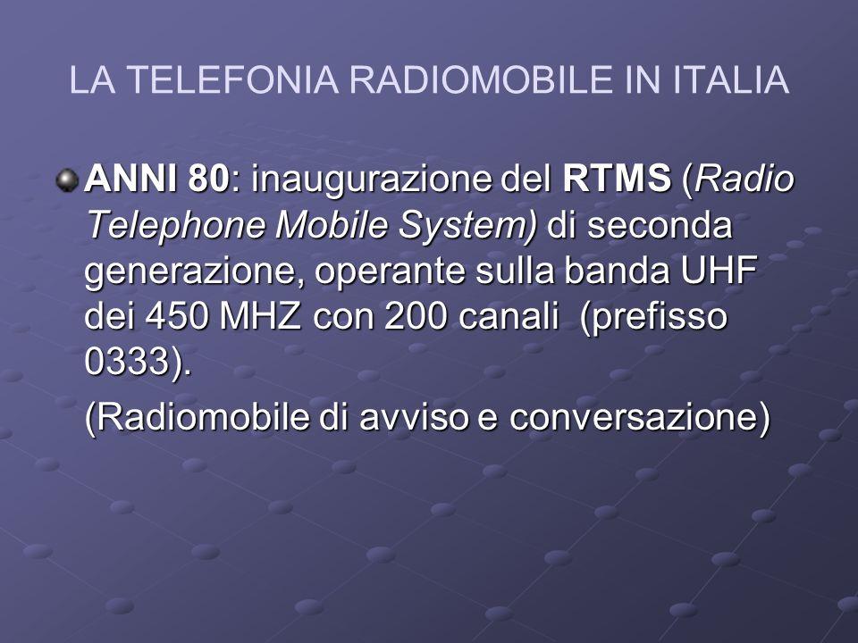 LA TELEFONIA RADIOMOBILE IN ITALIA ANNI 80: inaugurazione del RTMS (Radio Telephone Mobile System) di seconda generazione, operante sulla banda UHF dei 450 MHZ con 200 canali (prefisso 0333).