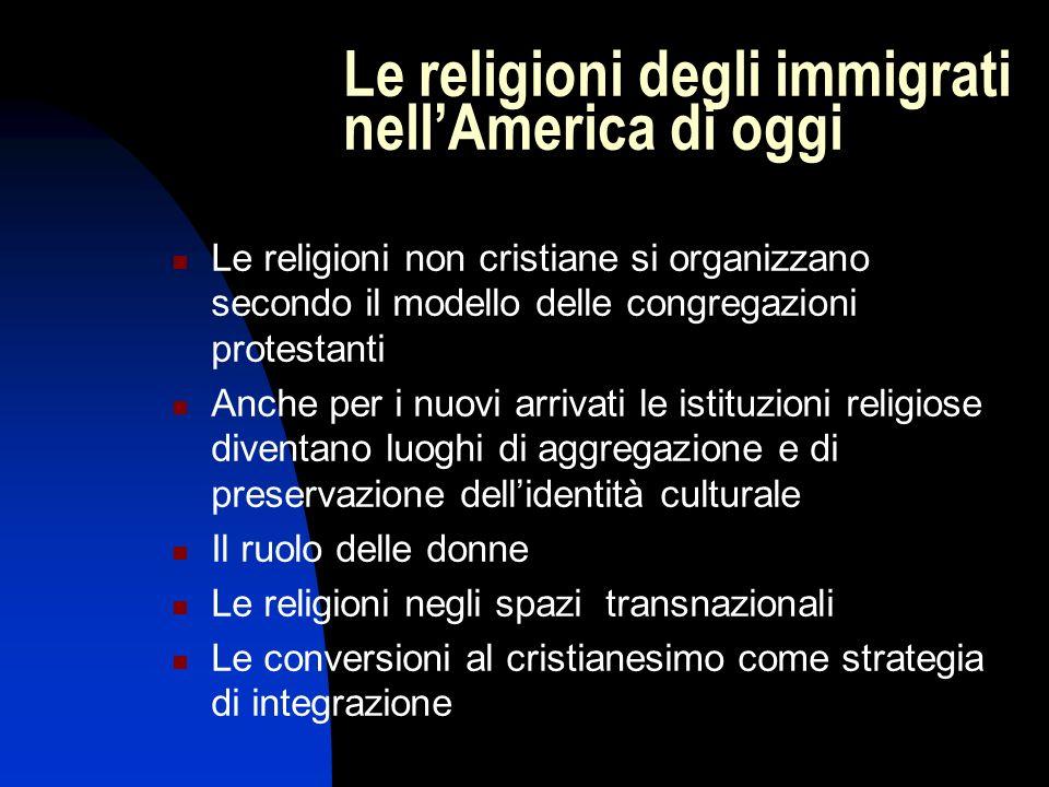Le religioni degli immigrati nellAmerica di oggi Le religioni non cristiane si organizzano secondo il modello delle congregazioni protestanti Anche pe