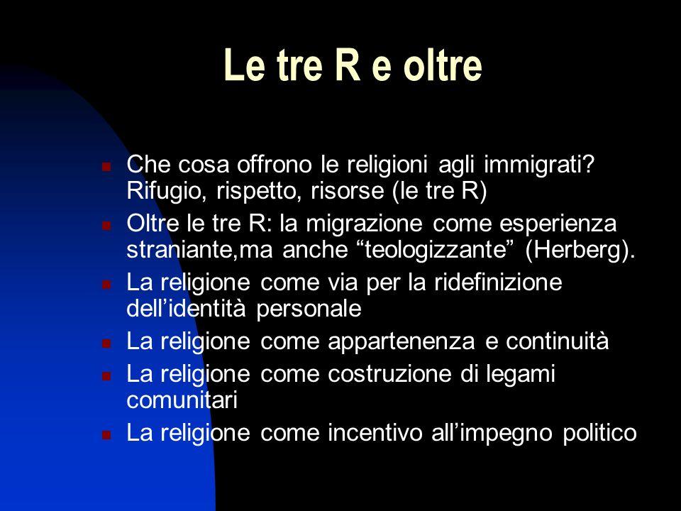 Le tre R e oltre Che cosa offrono le religioni agli immigrati? Rifugio, rispetto, risorse (le tre R) Oltre le tre R: la migrazione come esperienza str