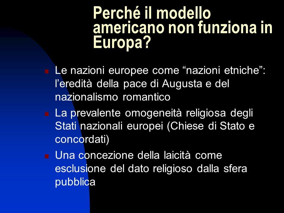 Perché il modello americano non funziona in Europa? Le nazioni europee come nazioni etniche: leredità della pace di Augusta e del nazionalismo romanti