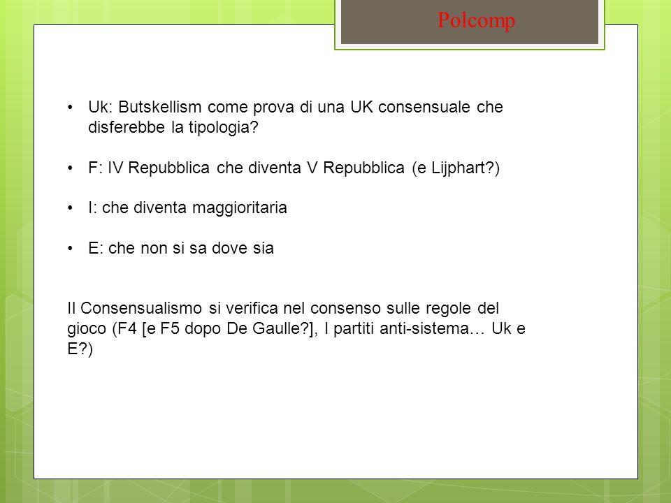 Uk: Butskellism come prova di una UK consensuale che disferebbe la tipologia? F: IV Repubblica che diventa V Repubblica (e Lijphart?) I: che diventa m