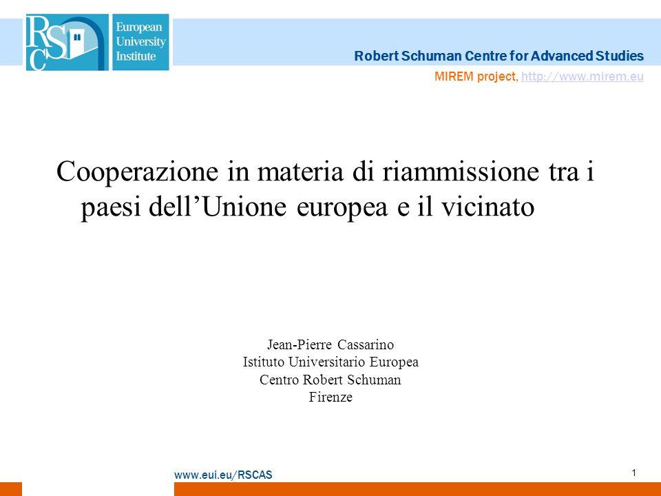 Robert Schuman Centre for Advanced Studies www.eui.eu/RSCAS MIREM project, http://www.mirem.euhttp://www.mirem.eu 2 La rete di accordi legati alla riammissione, conclusi tra gli stati membri dellUE et i paesi terzi (anni 70)