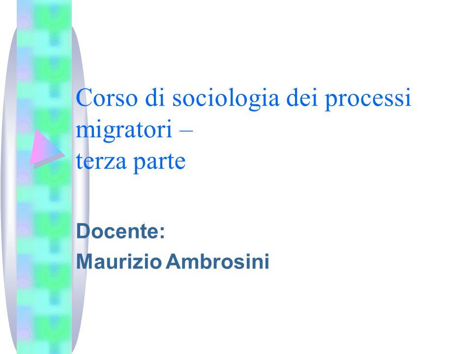 Corso di sociologia dei processi migratori – terza parte Docente: Maurizio Ambrosini