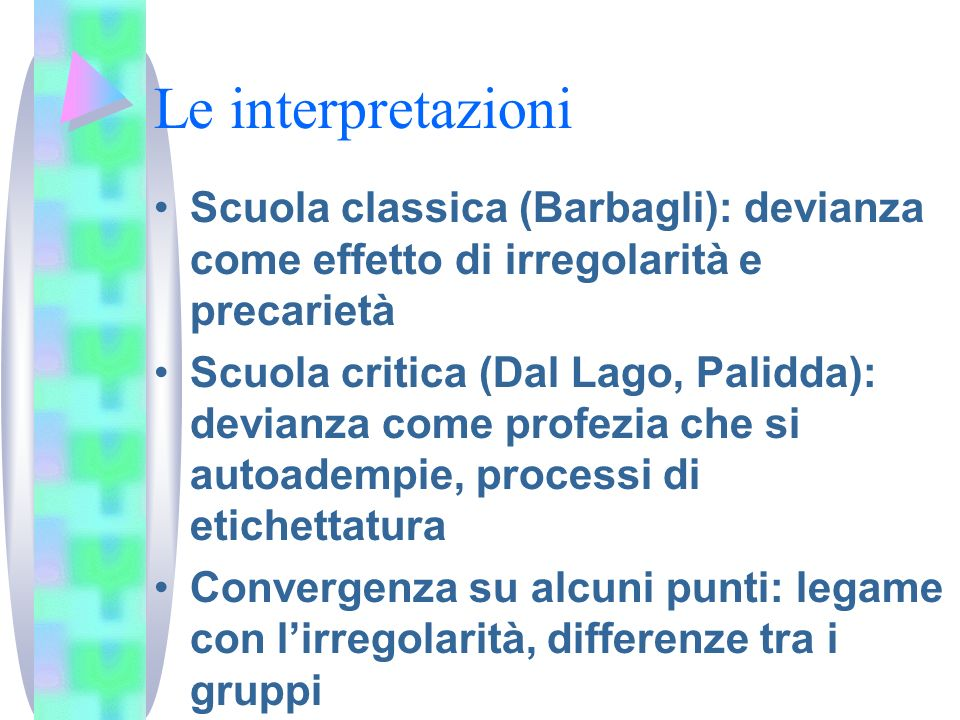 Le interpretazioni Scuola classica (Barbagli): devianza come effetto di irregolarità e precarietà Scuola critica (Dal Lago, Palidda): devianza come pr