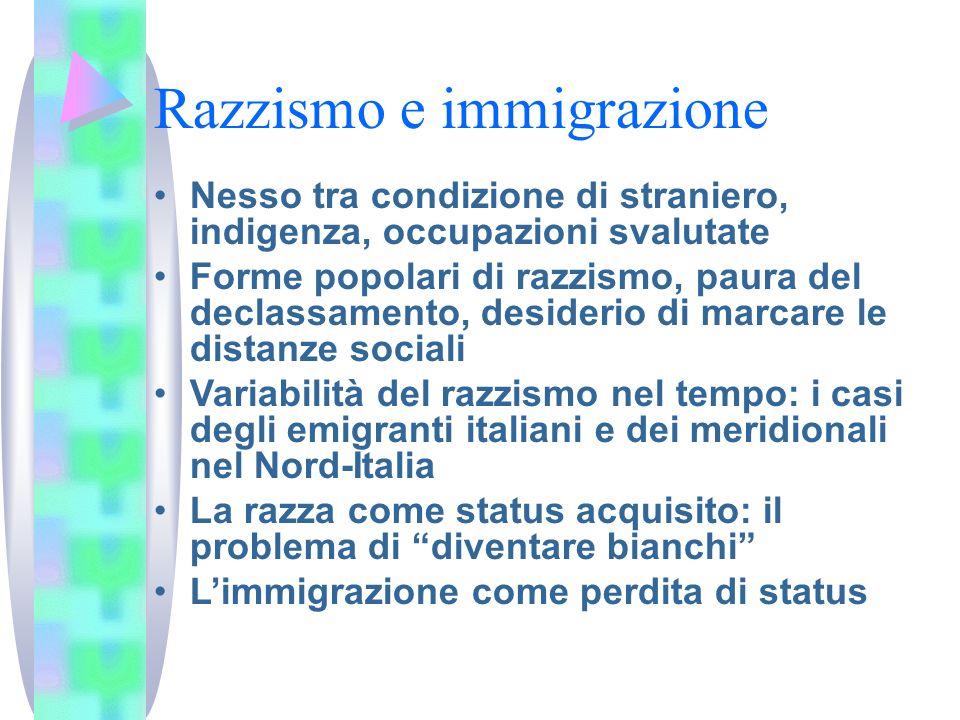 Razzismo e immigrazione Nesso tra condizione di straniero, indigenza, occupazioni svalutate Forme popolari di razzismo, paura del declassamento, desid