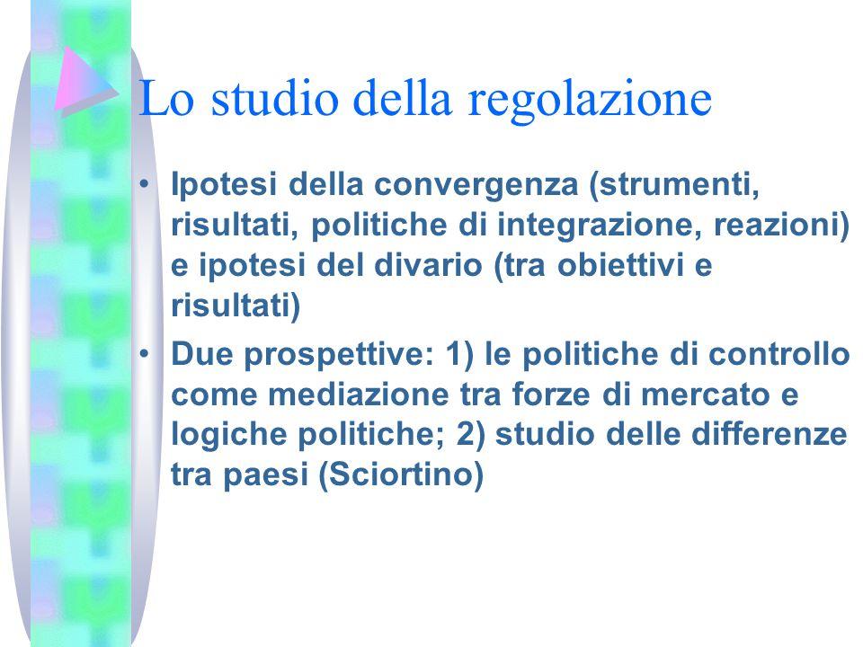 Lo studio della regolazione Ipotesi della convergenza (strumenti, risultati, politiche di integrazione, reazioni) e ipotesi del divario (tra obiettivi
