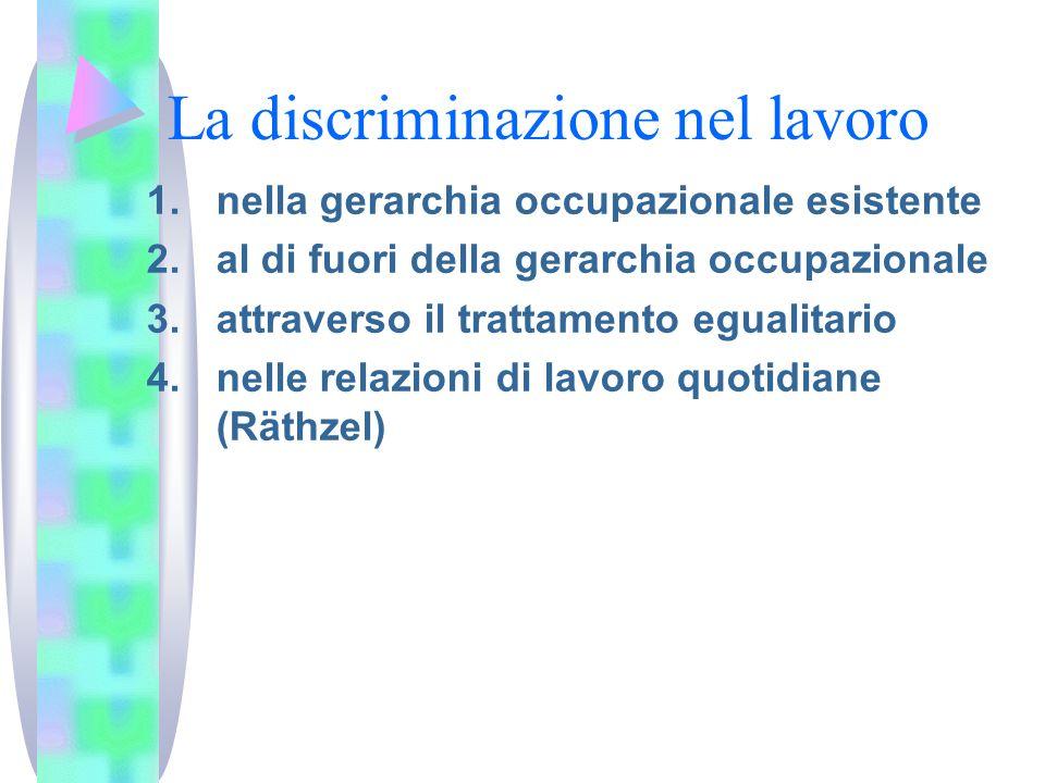 La discriminazione nel lavoro 1.nella gerarchia occupazionale esistente 2.al di fuori della gerarchia occupazionale 3.attraverso il trattamento eguali